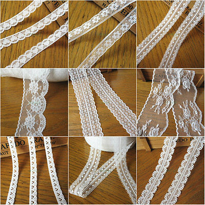 Vintage Ivory Embroidered Lace Trim Ribbon Wedding Bridal Applique Sewing Craft
