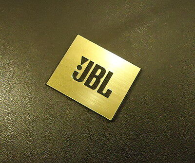 JBL Logo Emblem Badge brushed gold aluminum adhesive 28 x 23 mm [239d]