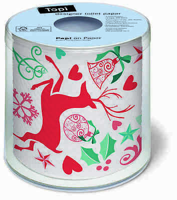 Christmas Toilet Paper Festive season Decorations Deer Holly Xmas Gift Claus NEW