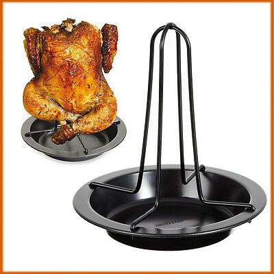 Upright Vertical Chicken Roasting Tray BBQ Rack Non Stick Baking Dish Holder