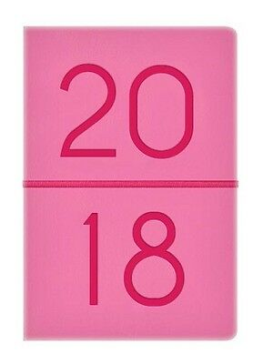 2017 Small Pocket Week To View Soft Leather Effect Diary - Neon Coral & Pink