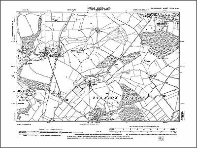 Beckley, Stanton St John N, Studley S, old map Oxfordshire 1900: 34NW repro