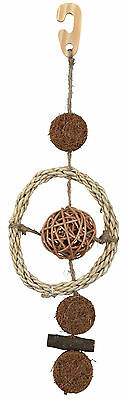 "Natural Bird Toy on Sisal Rope Wicker Coconut Fibres & Wood 35cm (14"")"