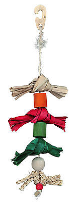 "Natural Bird Toy on Sisal Rope Palm Leaf, Wood & Husk 38cm (15"")"