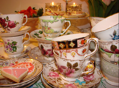 Job Lot 10 Vintage China Non Matching Sets Tea Cups & Saucers - Parties