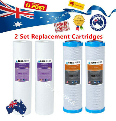 2 Set Replacement Water Filter Cartridges Carbon and Sediment