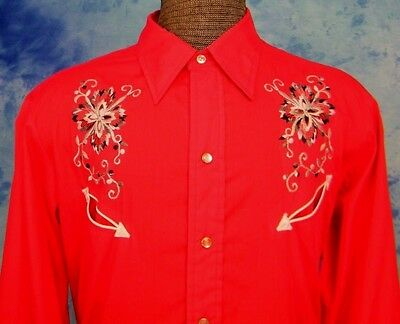 ViNTAGE H BAR C LONG TAiL RED SiLVER EMBROiDERED PEARL SNAP WESTERN SHiRT M/L