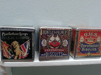 Dolls House Miniatures 1/12th Scale Accessory Pack of 3 Biscuit Tins New D1170
