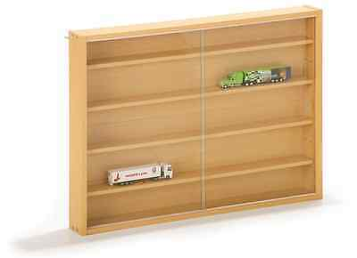 Collectors Display Cabinet Wooden Wall Mounted Vitrine Glass Case Cars Trains