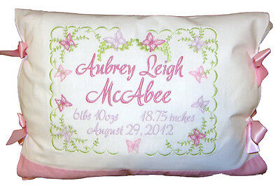 "Personalized Custom Birth Announcement Pillow ""Baby Girl Pink Butterflies"""