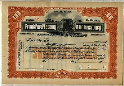 Frankford Tacony & Holmesburg Street Railway Stock Certificate Pennsylvania