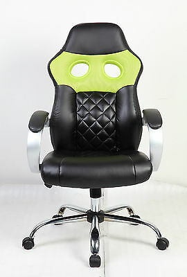 Brand New Design Mesh+PU Leather Sporty Computer/Office Chair (#SP001) green