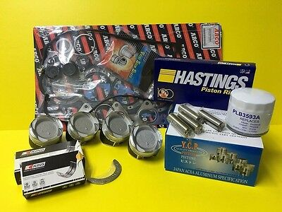 YCP Civic D16Z6 Turbo Low Compression Pistons Engine Kit Hasting and Bearings