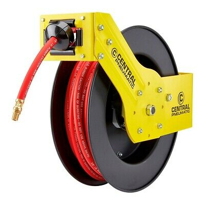 "50' Retractable Air/Water Hose Reel with ⅜""  Hose - Great For Auto Shop/Garage"