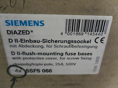 New Siemens DIAZED 4X 5SF5 066 Low Voltage Fuse Systems NIB