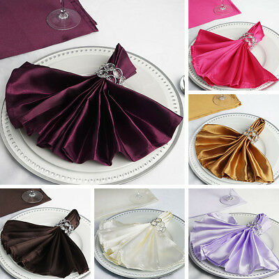 "500 WHOLESALE Silky SATIN 20x20"" Wedding NAPKINS Party Table Linens Supplies"