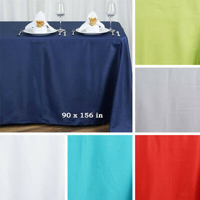 "24 WHOLESALE Polyester 90x156"" Rectangle TABLECLOTHS Wedding Party Linens SALE"