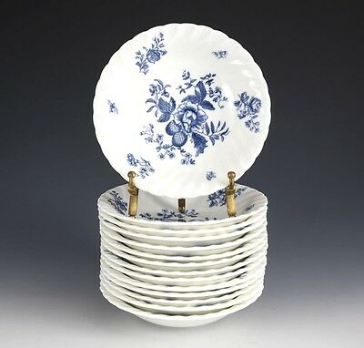 """14pc Royal Worcester Blue Spray Berry Bowls, 5 1/2"""", White plate, swirl fluted"""
