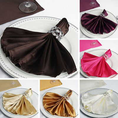 "250 Silky SATIN 20x20"" Wedding NAPKINS Party Table Linens Catering Decorations"