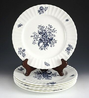 "6pc Royal Worcester Blue Spray Dinner Plates, Ribbed White plate, 10 5/8"", Z2817"