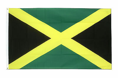 JAMAICA JAMAICAN CARIBBEAN NATIONAL LARGE 5 x 3FT FANS SUPPORTERS FLAG EYELETS