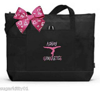 Personalized Black & Black Tote Bag Dance Gymnastics Tap Jazz Cheer Fre Ship