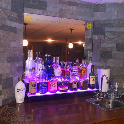 "36"" LED BOTTLE BAR RACK SHELF, Two Steps, Color Changing Lights, Glass Display"