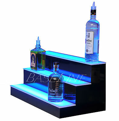 "20"" LED LIGHTED BAR SHELF, Three Step Liquor Bottle Glorifier, Back Bar Shelving"