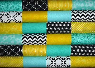 24 Black White Mint Yellow Mixed cotton fabric quilting 5 inch squares #4b