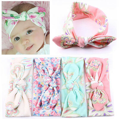 4Pcs Baby Infant Turban Rabbit Ear Headband Flower Hairband BowKnot Headwrap New