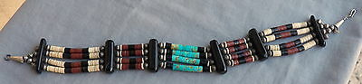 Vintage Native American Turquoise Pipestone Silver Bench Bead Choker Necklace
