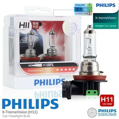 Pair Genuine PHILIPS H11 X-treme Vision Halogen Bulb 100% 12V 55W Car Light Bulb