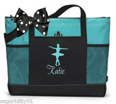 Personalized Black/Turquoise Tote Bag Dance Gymnastics Tap Jazz Cheer Fre Ship