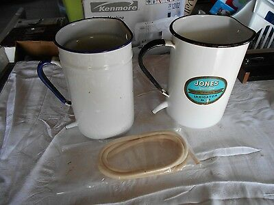 (2) Vintage Jones Medical Hospital Surgical Enamel Ware Irrigators w/ (1) Hose