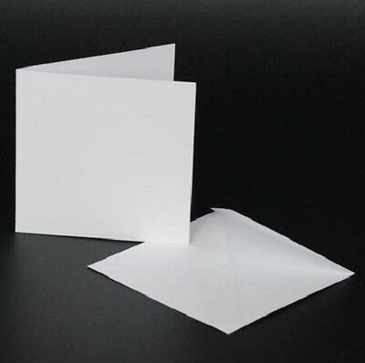 """Craft UK blank greeting cards & envelopes square 4"""" x 4 inch white colour x 50"""