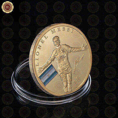 Number 10 Lionel Messi / Barcelona Gold Plated Coin Argentina Soccer Souvenir