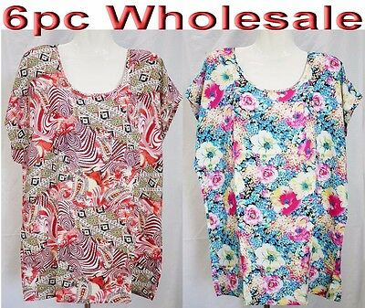 6pc Wholesale 100% Cotton Women Ladies Top Free Size Casual T-shirt Mixed