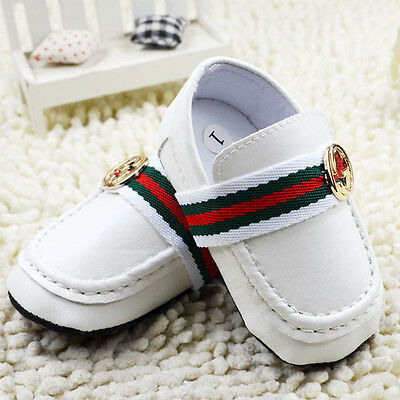 Baby Boy First Shoes  White Faux Leather Crib Shoes Loafers Size 0-18 Months