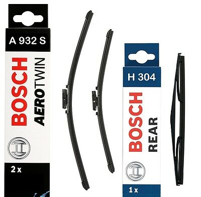 VAUXHALL ASTRA H Hatch Estate BOSCH Wiper Blade Set Front Rear A932S / H304