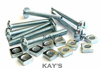 Roofing Bolts + Square Nuts Cross Slotted Dome Head Screws Zinc M5,m6,m8,m10