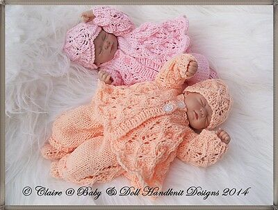 "Babydoll Handknit Designs Knitting Pattern Cosy Lacy Pram Set For 7-12"" Doll"