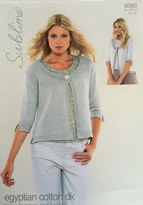 Sublime Ladies Livvy Cardigan Knitting Pattern Leaflet 6086 Cotton New Free P&P
