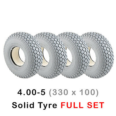 *SOLID * 4 X *NEW* 400-5 (330-100) Mobility Scooter Tyres Grey Block