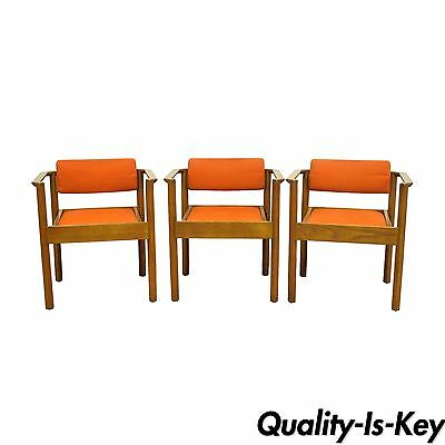 3 Vintage Kimball Mid Century Modern Oak Stacking Dining Arm Chairs Danish Style