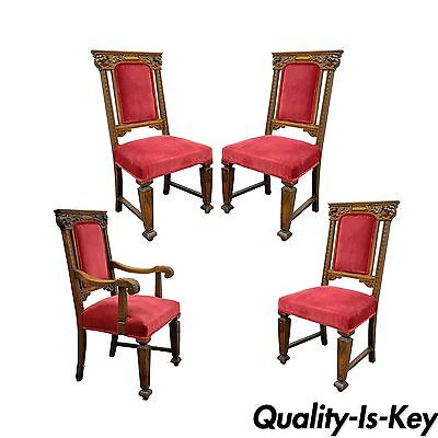 Set 4 Antique Renaissance Revival Figural Lion Carved Oak Side Arm Dining Chairs