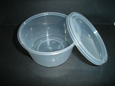 250 x Plastic Container & Lid 12oz round TAKEAWAY SOUP CHINESE INDIAN DELI(9125)