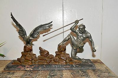 """Antique French Art Deco Statue """"The Hunter and the Eagle"""""""