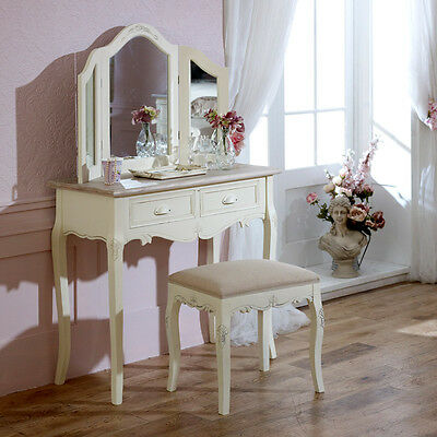 cream dressing table stool mirror bedroom furniture set french home country chic