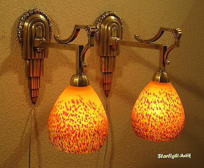Pair Of Marvellous French Art Deco Sconces 1925 By Vianne Pour Arta - Rare -