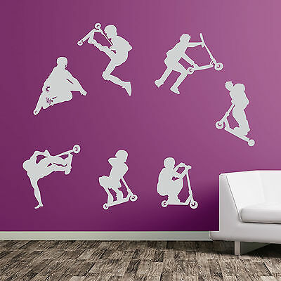 Stunt Scooters Kids Sports DIY Wall Decal Decorative Vinyl Stickers New Deco A49